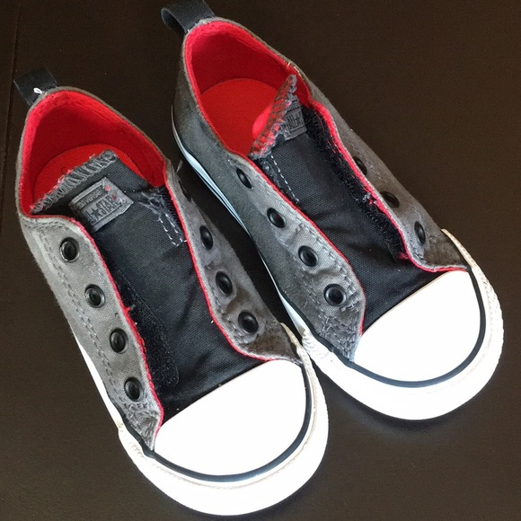bc7df79b69fa Converse Other - Converse Gray and Red Laceless Chuck Taylors